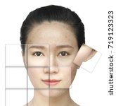 asian girl portrait before and... | Shutterstock . vector #719123323