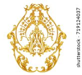 arabesque with golden scrolls...   Shutterstock . vector #719124037