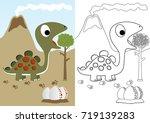 dino herbivore with eggs ... | Shutterstock .eps vector #719139283