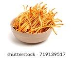fresh cordyceps mushroom on... | Shutterstock . vector #719139517
