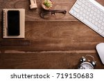 office stuff and stationery... | Shutterstock . vector #719150683