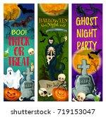 halloween ghost party banner of ... | Shutterstock .eps vector #719153047