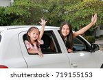 mother and little child girl... | Shutterstock . vector #719155153