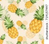 crazy pineapple seamless... | Shutterstock .eps vector #719157997