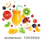 mixed fruits falling and orange ... | Shutterstock . vector #719159323