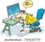 tired man sleeping at work... | Shutterstock .eps vector #719167777