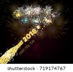 new year champagne toast golden ... | Shutterstock .eps vector #719174767