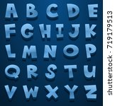 blue english alphabets on blue... | Shutterstock .eps vector #719179513