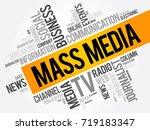 mass media word cloud collage ... | Shutterstock .eps vector #719183347
