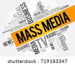 mass media word cloud collage ... | Shutterstock .eps vector #719183347