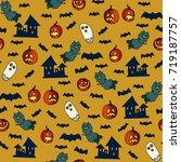 happy halloween seamless... | Shutterstock .eps vector #719187757
