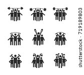 set of black icons stick... | Shutterstock . vector #719189803