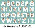 set of various poses of brown... | Shutterstock .eps vector #719200333