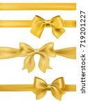 set of golden bows and ribbons... | Shutterstock .eps vector #719201227