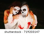 halloween. newlyweds. the... | Shutterstock . vector #719203147