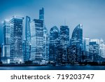 the night view of shanghai blue ... | Shutterstock . vector #719203747