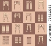 classic curtains  | Shutterstock .eps vector #719213353