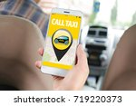 young man using cellphone in... | Shutterstock . vector #719220373