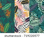 set of three seamless floral... | Shutterstock .eps vector #719220577