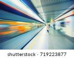 subway train passing through... | Shutterstock . vector #719223877