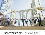 group of exercise multi people... | Shutterstock . vector #719234713
