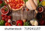 raw dough and ingredient for... | Shutterstock . vector #719241157