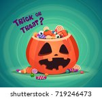 trick or treat. halloween... | Shutterstock .eps vector #719246473