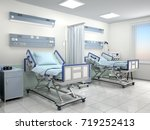 hospital room with two beds in... | Shutterstock . vector #719252413