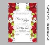 byrgundy peony anemone wedding... | Shutterstock .eps vector #719256247