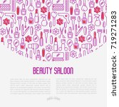 beauty saloon concept with thin ... | Shutterstock .eps vector #719271283