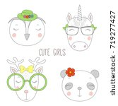 set of hand drawn cute funny... | Shutterstock .eps vector #719277427