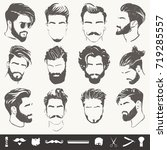 vector set of men hairstyle...
