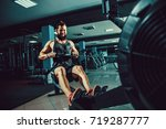 bearded muscular fit man ssing... | Shutterstock . vector #719287777