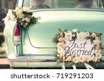 beautiful wedding car with... | Shutterstock . vector #719291203