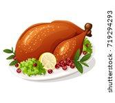 roasted thanksgiving turkey   Shutterstock .eps vector #719294293