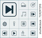 multimedia icons set.... | Shutterstock .eps vector #719297293