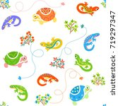 seamless cartoon pattern with... | Shutterstock .eps vector #719297347
