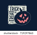 trick or treat halloween card... | Shutterstock .eps vector #719297863