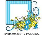 flowers with card border   Shutterstock .eps vector #719309527