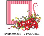 flowers with card border   Shutterstock .eps vector #719309563
