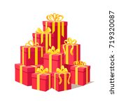 red gift boxes with ribbon set... | Shutterstock .eps vector #719320087