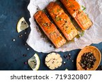 delicious fried salmon fillet ... | Shutterstock . vector #719320807