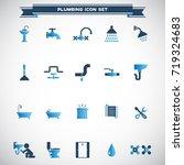 plumbing icons set vector | Shutterstock .eps vector #719324683