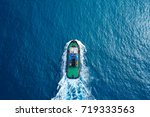 Tugboat At Sea   Aerial Image