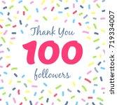 thank you 100 followers network ... | Shutterstock .eps vector #719334007