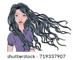 a young girl with long waving... | Shutterstock .eps vector #719337907
