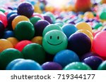 smile face colorful balls in a... | Shutterstock . vector #719344177