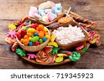 various colorful candies ... | Shutterstock . vector #719345923