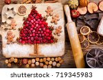 christmas food. ingredients for ... | Shutterstock . vector #719345983
