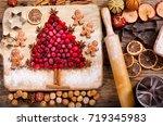 christmas food. ingredients for ... | Shutterstock . vector #719345983